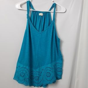 Anthropologie Meadow Rue Eyelet Swing Tank